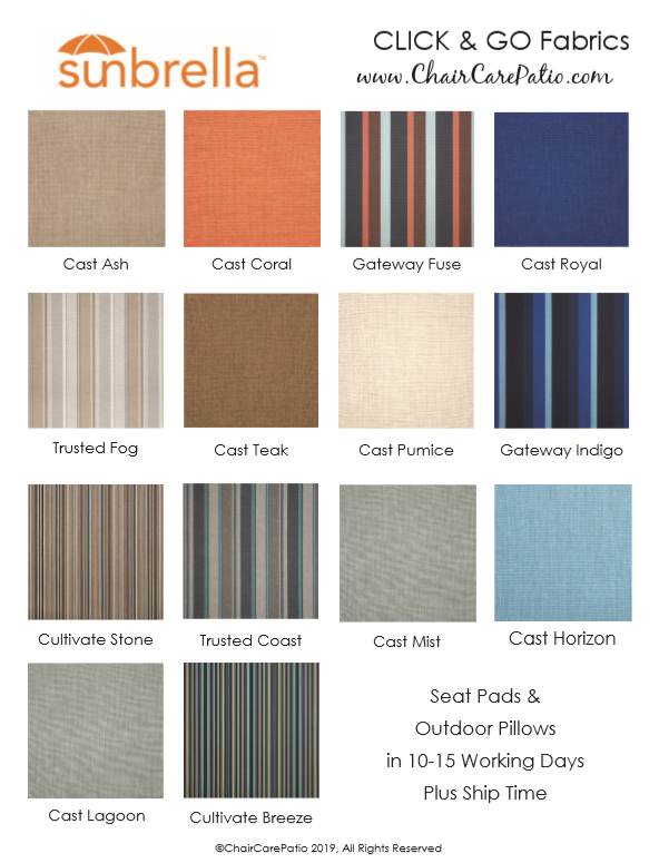 Selected Sunbrella Outdoor Fabrics for Click and Go Outdoor Seat Pads, Cushions and Pillows